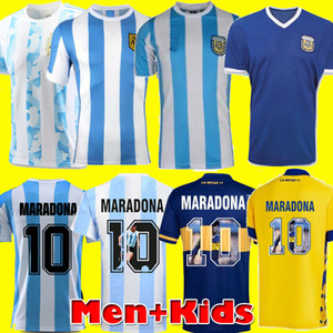 Versão do jogador Retro 1986 Argentina Diego Maradona Jersey 1978 Boca Juniors 1987 2020 Men Kids Football Shell Kit