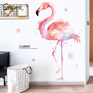 Cartoon Pink Flamingo Wall Sticker for Kids Room Ink Painting Wall Stickers Nursery Decoration PVC Decals for Bedroom