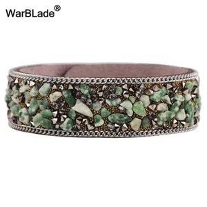 Warblade Modeschmuck Kies Stein Armband Frauen Leder Armbänder Armreifen Persönlichkeit Weibliche Kristall Steine Armband