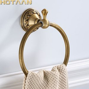 Bathroom Towel holder, Solid Aluminium Wall Mounted Round Antique Brass Towel Ring Towel Holder Classic Bathroom Accessories T200605