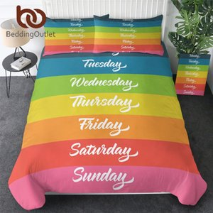BeddingOutlet Rainbow Bedding Set Days of the Week Comforter Cover Colorful Bedspreads Letters Bed Cover Set Twin 3pcs Dropship
