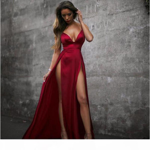 Summer Dress High Split Red Maxi Dress Women Solid Sexy Floor-Length Chistamas Party Prom And Evening Beach Clubwear Long Dresses