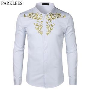 Chemise de broderie à fleurs d'or Hommes Homme à manches longues Chemise Homme 2018New Couleur Solid Couleur Blanc Chemises Mens Slim Fit Mariage Camisa Y200409