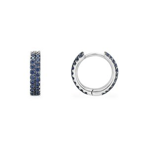 SLJELY High Quality Fashion Real 925 Sterling Silver Navy Blue 2 Row Hoop Earrings Micro Zirconia Women Jewelry