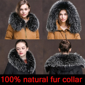 Cllikko 100% Real Fur Collar For Parkas Coats luxury Warm Natural Raccoon Scarf Women Large Fur Collar Scarves Male Jackets coat 201210