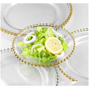 wedding plate nordic gold bead glass charger dinner plated dish decorative salad fruit dinner for wedding table decoration 21cm 2CuOD