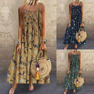 Summer Linen Loose Dress Plus Size M 5XL Women Vintage Bohemian Print Floral Sleeveless O Neck Straps Maxi Dress 7 Colors