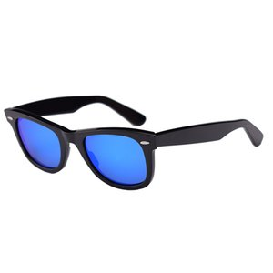 Classic Size Sunglasses Men Women Square Black Acetate Frame coating mirror Glass Lenses Women Mens Sun Glasses Oculos De Sol