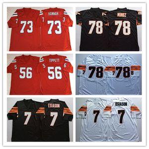 NCAA hombres Vintage Mn Jersey Fútbol 7 Boomer Esiason 78 Anthony Munoz 73 John Hannah 56 Andre Tippett Rojo Negro Blanco