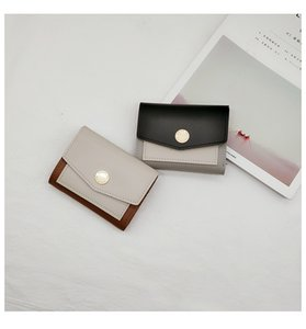 Hot Sale New women two-tone short style wallets lady fashion zero purses female causal clutchs black pink coffee green blue color