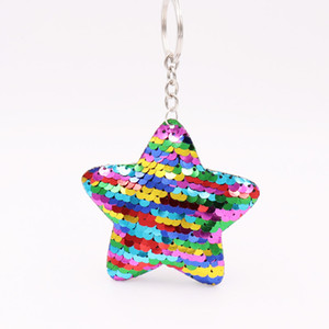 factory promote gift horse star Christmas decoration Double-sided reflective sequin Christmas tree keychain sequin bag pendant car keychain