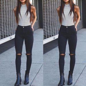 New Fashion Womens Destroyed Ripped Slim Denim Pants Boyfriend Jeans Trousers Stylish Womens Long Skinny Hole Jeans