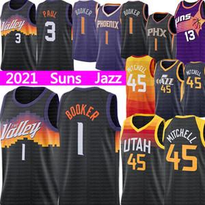 Devin 1 بوكر جيرسي كريس 3 بول فينيكسصنزجيرسي دونوفان 45 ميتشل يوتاموسيقى الجازكرة السلة الفانيلة 2021.