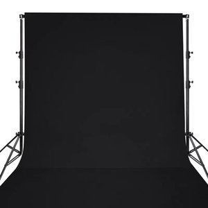 Background Polyester fabric Solid Color Black Screen Photo Backdrop Studio Photography Props with free clips nails
