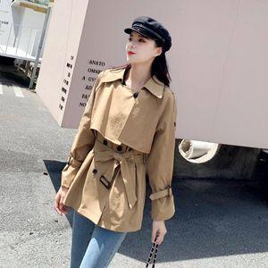 HziriP Khaki 2020 Lose feste All-Match Plus Size Fashion Eleganter Trench-Qualitäts-Herbst Gentle Chic Kurz Büro-Dame Coat