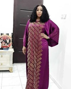 Luxury African Design Silk Dashiki Dress Beading Abaya Bandage Maxi Bazin Vintage Long Sleeve Robe Gowns Africa Sexy Lady Party1