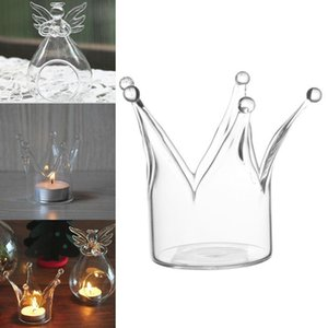 Crown Designed Glass Hanging Tea Light Candle Holder Home Decor Party Supplies