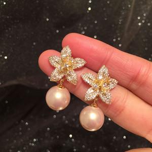 Diamond Zircônia Bonita Flor Elegante Pérola Brincos Novos Moda Brincos Para Mulher Meninas S925 Silver Post