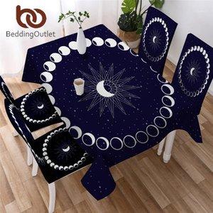 BeddingOutlet Eclipse Rectangle Tablecloth Moon Star Table Cover Galaxy Table Cloths Blue Decorative Linen toalha de mesa1