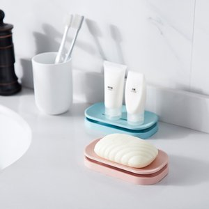 Unique soap dishes bathroom colorful soap holder double drain soap tray holder a good helper for your family DHC6331