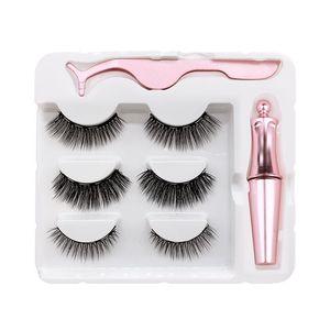 Magnet Lashes Magnetic Eyelashes 3D False Mink Eyelashes Magnetic Reusable Liquid Eyeliner&Magnetic False &Tweezer Set