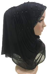 Muslim Scarves Hijabs Beads Islamic Arab Amira Head Wrap Women One Piece Scarf Prayer Ramadan Bandanas Hijab Lace Pull On Amira
