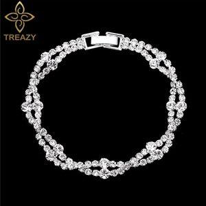 TREAZY Moda Rhinestone cristal Pulseiras para mulheres Sparkling nupcial pulseiras Bangles 2020 Wedding aniversário Jóias