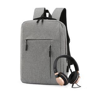 Korean Men's Casual Backpack Portable Notebook Computer Backbag USB Charging Waterproof Student School Bag Black Travel Rucksack
