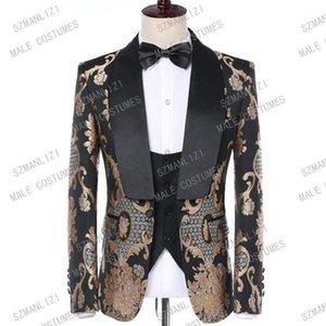 TERNO Masculino Slim Fit 2019 Marca Tuxedo 3 Peça Suits Homens Paisley Bordado Vestido de Noiva Noivo Traje Fato Homme Mariage1