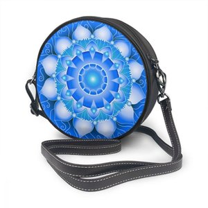 Borsa Oln Oln Summer Donne Piccola Borsa per cellulare rotonda Moda Crossbody Messenger Mandala Blue Bag 2021 Avugn