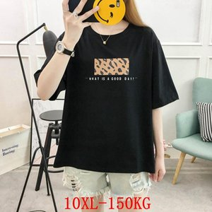 Plus size women's T-shirt deer plus size 7XL 8XL 9XL10XL summer round neck short sleeve casual loose black T-shirt top