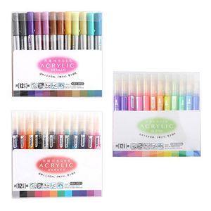 12 Цветов Акриловая краска Маркер Ручка для керамической рок-стекла Фарфоровая кружка Wood Canvas Painting Marking 201120