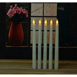 Inicio 11 pulgadas LED Batería Accionada Flickering Flamseless Igory Taper Lámparas Stick Vela Vela Boda Mesa de Boda Habitación Decoración de la iglesia 28 cm (h)