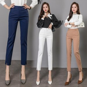 Workwear Hight Quality Elastic Slim Office Lady Candy colored Pants Women High Waist Cotton Casual Trousers Fashion formal Pants