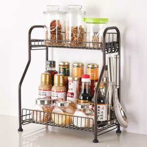 2 Tier Countertop Shelf Organizer with 3 Hooks Spice Rack Standing Holder Metal