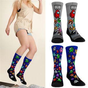 Christmas Among Us Socks Sports Adults Kids Unisex Medium Compression Knee High Socks for Women Girls Men Novelty Among Us Plush Stockings