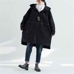 Autumn Winter Large Size Women's Windbreaker Vintage Loose Female Beit Trench Big Size Spliced Outerwear O-neck Long Coat D858