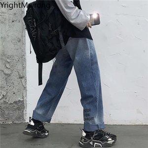 Washed Gradient Letter Print Loose Straight Jeans Trouser Fashion Denim Pant Woman Men Streetwear Plus Size Hip Hop Punk Clothes