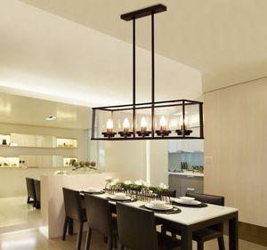 Amerikanischer Landstil Rechteckiger Kronleuchter Kreative einfache Tischbarlampe Esszimmer Marmorglas Schwarz Hängelampe
