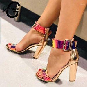 Genshuo Chunky Ferse Frauen Knöchelriemen Gladiator Sandalen Frauen Sommerschuhe Mode Weibliche Sandalias Abdeckung Ferse Party Schuhe1