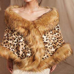 Leopard Luxury White Dark Gray Bridal Faux Fur Outerwear Jackets Winter Cape Wedding Evening Wrap Warm