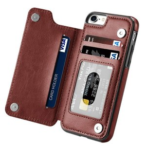 Shockproof Brown Folio Flip Protective Leather Mobile Phone Shell for Apple iPhone 7 8 (4.7 Inch)