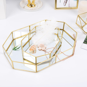 Northern Europe INS Glass Storage Tray Gold Tray Simple Jewelry Cosmetic Decoration Retro Copper Bar Tea Tray Y1119