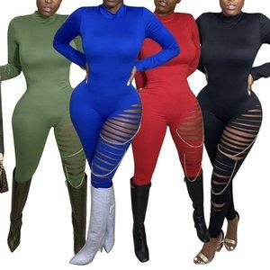 21FW Seksi Bayan Delik Romper Moda Toprak Renk Sıska Tulumlar Tasarımcı Yüksek Boyun Bayan Uzun Kollu