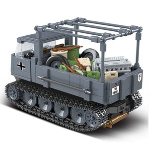 Military tank Building Blocks half Tracked Vehicle ROS Bricks WW2 Army Police Soldier Weapon Toys Gifts For Children Q1126