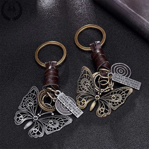 Key Chains 2020 Beautiful butterfly suspension pendant metal leather keychain for girls Car keys chain Women bag handbag purse charms men