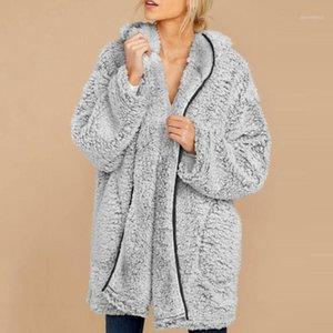 Женские куртки мода длинные искусственные меховые пальто женщины зима мягкий нечеткий 2021 осень теплый с капюшоном с капюшоном пиджак женский кардиган пальдиган верхняя одежда1