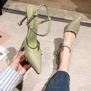 Women's shoes sandals 2020 new spring and summer fashion pointed rhinestone word with stiletto heels