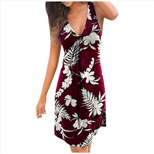 summer For Women 2020 Fashion Women Plus Size Sexy Floral Print Sleeveless V Neck Casual Short Dress Bodycon Dress Robe 25