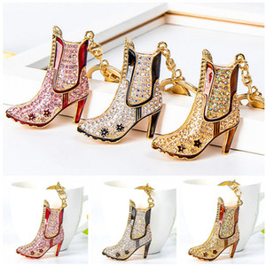 European and USA Hot Selling Keychains Crystal Ankle Boot Shaped Designer Car Key Rings Handbag Charms